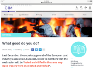 Image of burning coal to illustrate marketing sustainability article