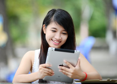 Woman using an iPad