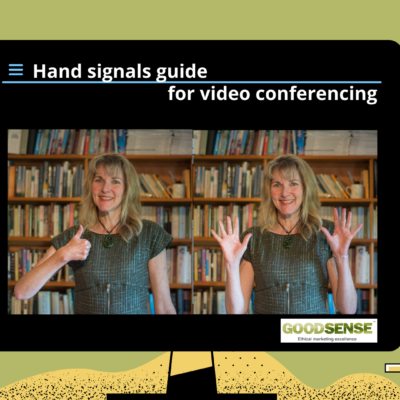 Video conferencing with hand signals post image showing signals for agreement and applause
